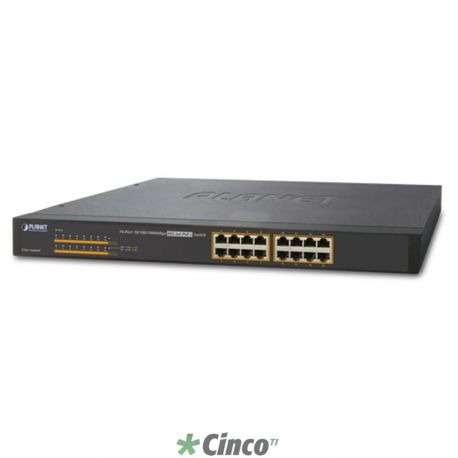16-Port 10/100/1000Mbps 802.3at PoE+ Ethernet Switch
