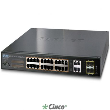 24 portas 10/100/1000 PoE + 4-Port Gigabit TP / SFP Combo Switch Gerenciável