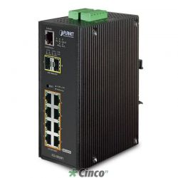 Industrial 8-Port 10/100/1000T 802.3af PoE + 2-Port 100/1000X SFP Switch Gerenciável