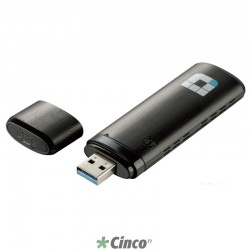 D-Link Adaptador Wireless USB AC Dualband 867Mbps (5GHz) ou 300Mbps (2.4GHz) DWA-182