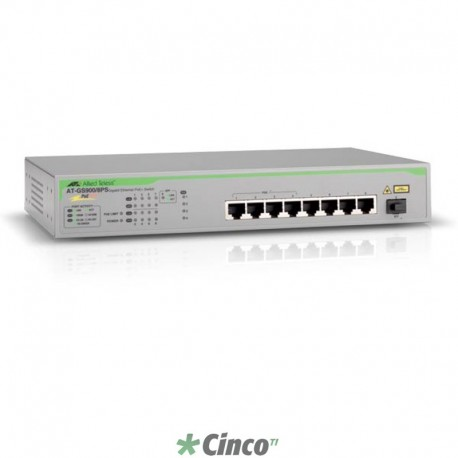Switch Allied Telesis com 8 portas 10/100/1000T e 1 SFP, não gerenciável AT-GS900/8PS