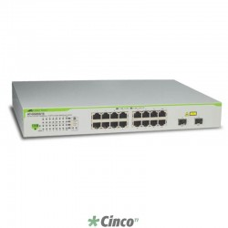 Switch Allied Telesis com 16 portas 10/100/1000T e 2 portas SFP AT-GS950/16