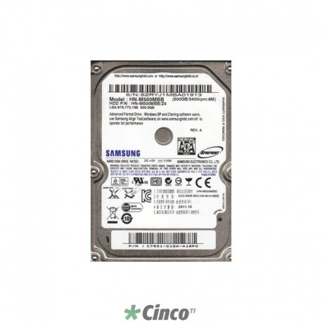 HD Samsung 500GB Sata 5400rpm Interno para notebook HN-M500MBB/SE2