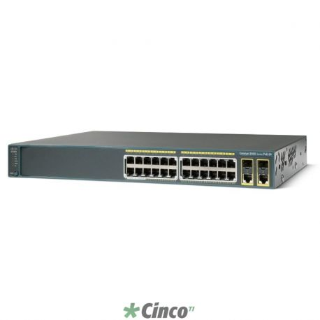 Switch Catalyst 2960, com 24 portas 10/100 e 2 portas GE de uplink