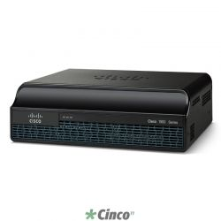Roteador Cisco com 2 onboard GE, 2 EHWIC slots, 256MB USB Flash (interna) 512MB DRAM Cisco1921-SEC/K9