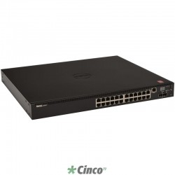 Dell Networking Switch N2024P L2 c/ 24x PoE + 2x 10GbE SFP+ e 2x portas Stacking (Empilhável até 12 unid.) 210-ABNW-050